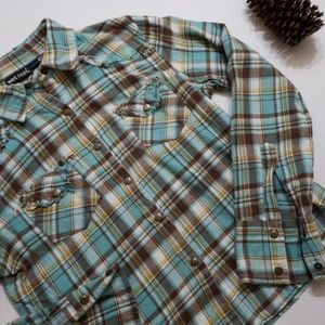 Teal & Brown Button Down | Wet Seal